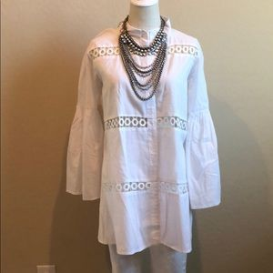 Perforated Button Down Puff Sleeve Top